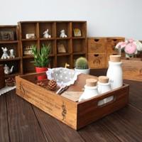 Zakka vintage retro finishing wood pallet desktop storage box storage box