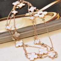four leaf clover  female fashion  long design multi-layer long necklace star