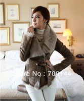 Free Shipping 2013 New Elegant Style Fur Collar Furry Inside Splicing Design Zipper Side Thicken Jacket For Women/Winter Coat