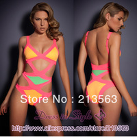 2013 Free Shipping Sexy Neon Mazzy Hot Summer Bandage A G Bikini Monokini Beachwear Swimwear Swimsuit Women Lady BodyCon DS938