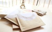 Free Shipping Wholesale 50pcs/Lot 18x16cm Kraft Paper Lace Bubble Envelope Jewelry Packaging Bag Zakka Retro Packaging