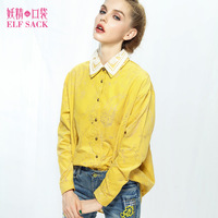 Free shipping - Elf SACK chiaki large autumn lace print corduroy shirt