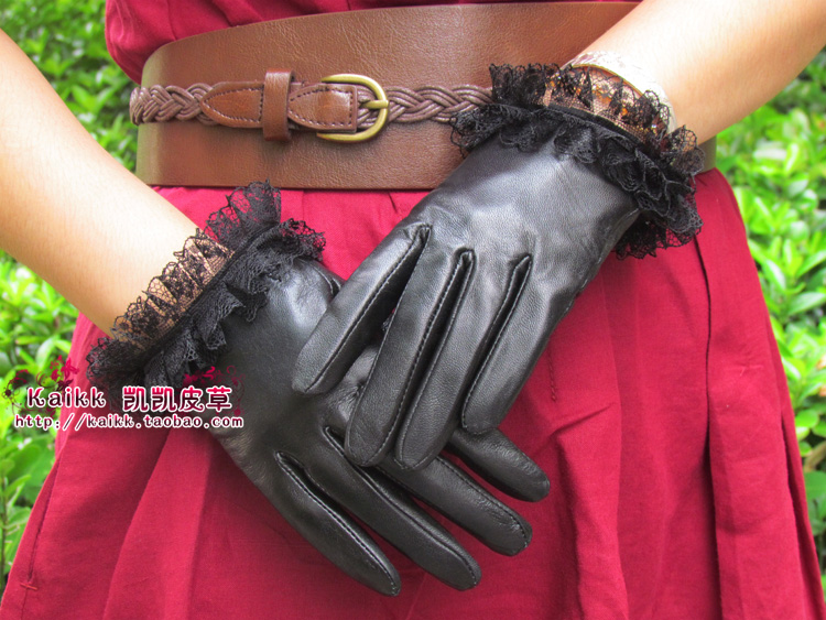 Lace decoration gloves genuine leather gloves small fresh gloves female(China (Mainland))