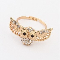 Min.order is $15 (mix order) Europe Fashion Ring ! Personality Vintage Rhinestone Owl Ring jewelry J1583
