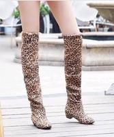 2013 new fashion autumn-summer women boots  leopard print boots ladies fashion flats free shipping