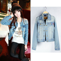 Ssy turn-down collar short design denim outerwear vintage classic female short jacket top coat 9639
