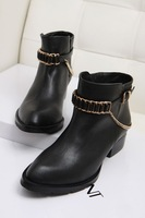 2013 king alexander chain boots pointed toe genuine leather strap martin boots ankle boots