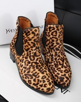 2013 boots genuine leather boots leopard print horsehair flat boots