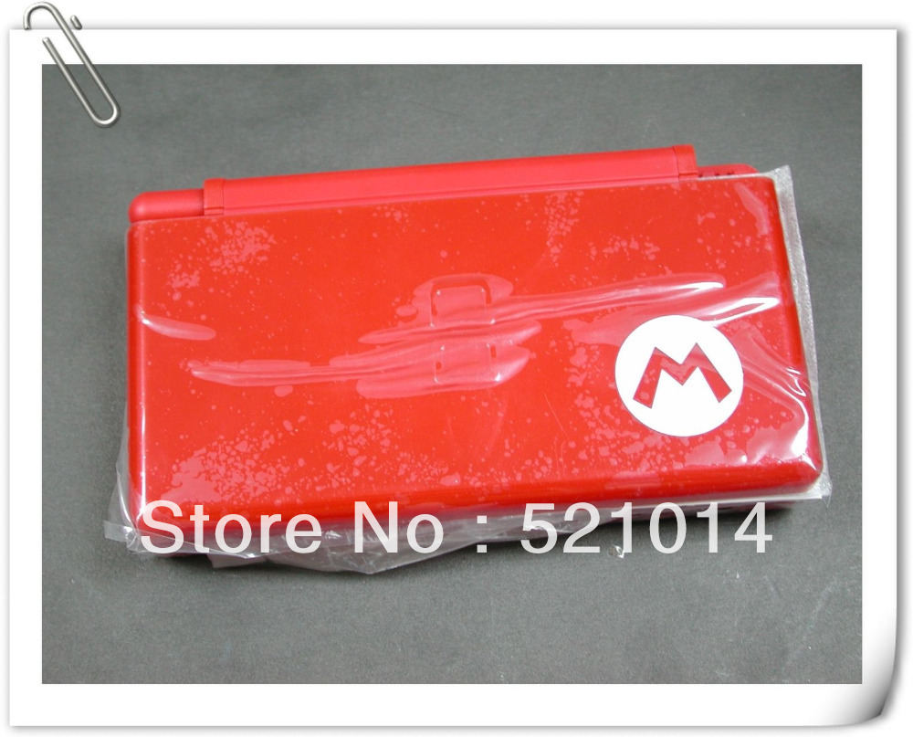 New Mario Red - NDSL DS Lite Complete Full Housing Shell Case Replacement Repair w/ Hinge Set(China (Mainland))