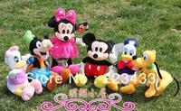 Wholesale,Plush Cartoon Mickey Mouse 35-40cm ,6pieces=1set ,30sets=1lot Donald Duck Tumbler Figure Toys Wholesale(6pcs/set)