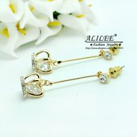 Free Shipping ALILEE Jewelry  Fashion 2013 for Women Earrings long Czech Diamond Copper Real Gold Plating Earrings LE-0027
