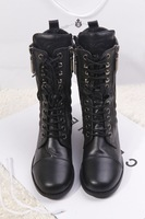 2013 women's genuine leather boots shoes boots fashionable casual double zipper lacing boots
