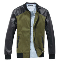 2 Colors ! Free Shipping 2014 New Arrival Quality PU Leather Sleeve Fashion Men's Casual Jacket ( M L XL XXL )