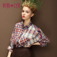 Free shipping - Elf SACK margots autumn 2013 rustic patchwork vintage plaid shirt