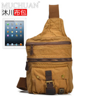 Fashion vintage Military canvas leather bag  for IPAD sports duffles personality bag chest pack Free shipping