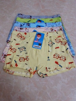 Children's clothing 7711 modal bamboo fibre cartoon male child four angle panties