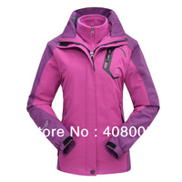 F1315 High Quality Lovers Women's Outdoor Double Layer 3 in1 Winter Waterproof Climbing Skiing Jacket Coats Windbreaker