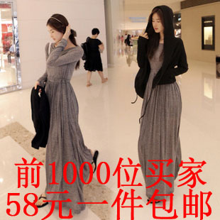 Autumn and winter 2013 women's skirt long design one-piece dress long-sleeve dress full dress