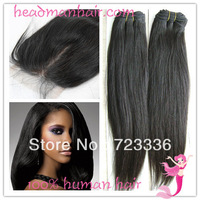 Free Shipping!Virgin Malaysian 3bundles Straight Hair Weave Add 1pc silk Base Lace Closure 3.5x4 Queen Hair 3pcs