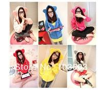 Candy Colors Autumn Korean Cartoon Long Sleeve Cute Bear Ears Hooded Zipper Cardigan Fleece Women's Sweatshirt Clothes Apparel