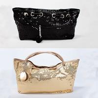 Wholesale Korean fashion shiny sequined women's bag gold black bag designer tote vintage evening bag WB3023