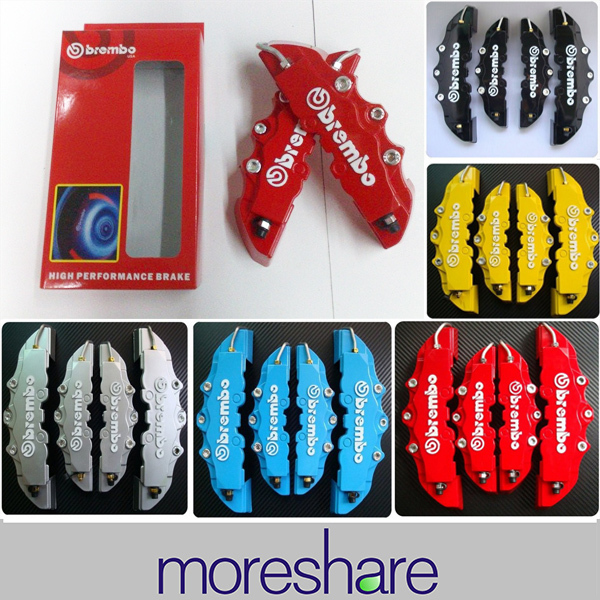 Free Shipping 4pcs/lot Car Front+ Rear 3D Disc Brembo Brake Caliper Cover with Universal Kit 5 Colors(China (Mainland))