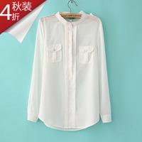 Free Shipping 2013 Autumn General Shirt Chiffon Shirt Autumn Invisible Button Chiffon Shirt Female Shirt