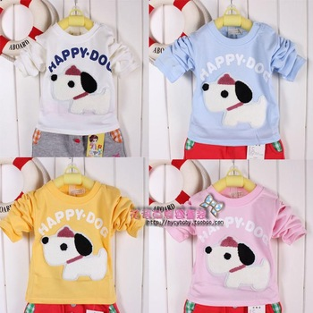 2013 male girls clothing buckle long-sleeve T-shirt cartoon boy padded sweatshirt embroidered towel