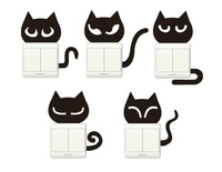Wall stickers cat switch stickers set 5 cartoon waterproof decoration 097
