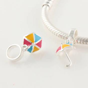 Yb132 925 pure silver jewelry beaded multi-colored sun umbrella swing bead silver beads