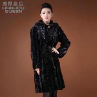 Queen 2013 mink hair leather overcoat long design slim women's hooded fur coat