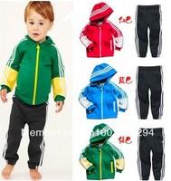 Retail 1 set 100%cotton children brand kids sports boys girl clothes suits hoodies+pants  clothing track suit