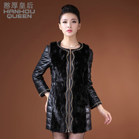Queen 2013 mink hair leather overcoat medium-long slim leather down coat genuine leather female clothing
