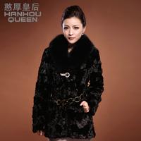Queen 2013 medium-long women's fox fur mink overcoat fight mink fur coat