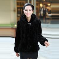 Queen 2013 autumn women's slim hooded mink hair leather overcoat fur coat