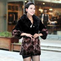 Queen 2013 autumn mink hair leather overcoat print rex rabbit hair fur coat