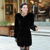 Queen 2013 autumn fox fur mink hair leather overcoat fur coat slim