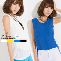 Low-high T-shirt sleeveless fashion chiffon shirt vest clothes women's trend shirt summer female