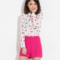 Dtod 2013 cute red lips print shirt female long-sleeve shirt summer women's shirt thin top