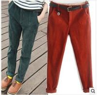 2013 Free Shipping women corduroy haroun pants with elastic waist female trousers slacks leisure trousers