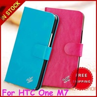 Brand New Original ily Genuine Leather Wallet Leather Flip Stand Case Cover For HTC ONE M7 with Card Slots and Holders