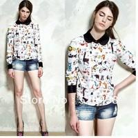 2013 hot seller long sleeve cute charater printer chifflon blouse
