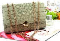 Free & Drop Shipping! 1PC Korean Style Women Ladies OL Fashion Luxury Crocodile Chain Messenger Bags PU Handbags