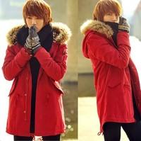 hot sale winter slim fur collar leopard print  thick long men wadded jacket outerwear