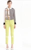 2013 hot seller long sleeve geometric printed chifflon blouse