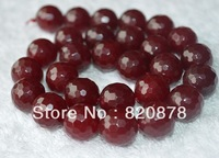 Wholesale Natural 8mm Faceted Red Ruby  Round Loose Beads 15'' Fashion jewelry