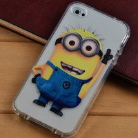 1pcs/lot China POST free shipping Cartoon Yellow Minion Dispicable Me Plastic Case for iphone4/4s
