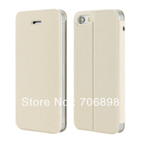 Free Shipping Twill PU Leather Phone Case for Iphone 5 Flip