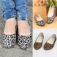 HK Free Shipping! 2013 New Fashion Quanlity! Wholesale! Womens Leopard Print Ballerina Flat Ballet Shoes Big Size 4,5,6,7,8