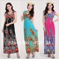 TP1007-1pcs dropshiping Bohemian Style summer new fashion for the women long maxi high waisted bohemian causal dresses peacock